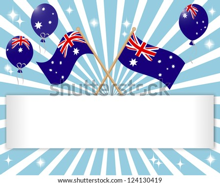Australia Day. Festive banner with flags and balloons. 10 EPS. Vector illustration. - stock vector