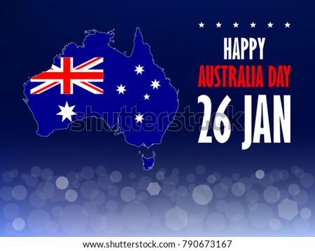 Australia day poster text australian map stock vector 790673167 australia day poster with text australian map flag and bokeh light on blue background m4hsunfo