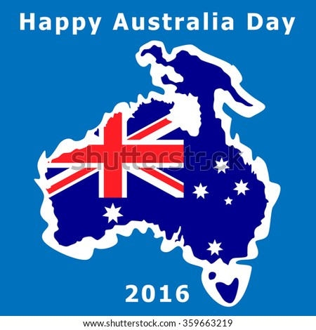 Australia Day. The national flag. Vector Illustration. Contour maps in the background of the ocean