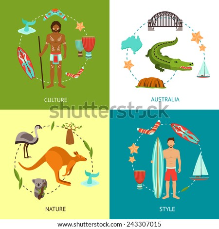 Australia design concept set with culture nature style flat icons set isolated vector illustration - stock vector
