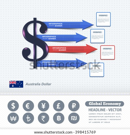 Australia Dollar Concept Finance Infographics Design, Colorful Arrows and Web Elements