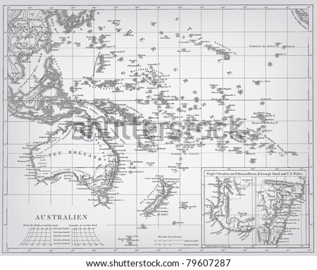 "Australia, engraving vector map from ""The Complete encyclopedia of illustrations"" containing the original illustrations of The iconographic encyclopedia of science, literature and art, 1851. - stock vector"