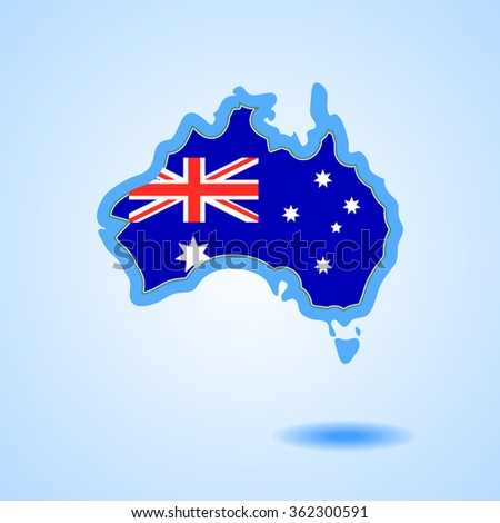 Australia Flag and Country Map Continent Silhouette Isolated on White Background Vector Illustration. Australia map for Australia Day, ANZAC Day  - stock vector