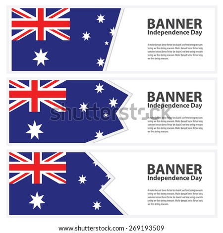 australia Flag banners collection independence day template backgrounds, infographic - stock vector