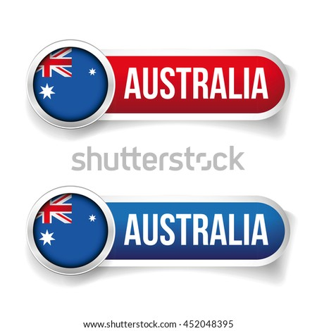 Australia flag button - stock vector