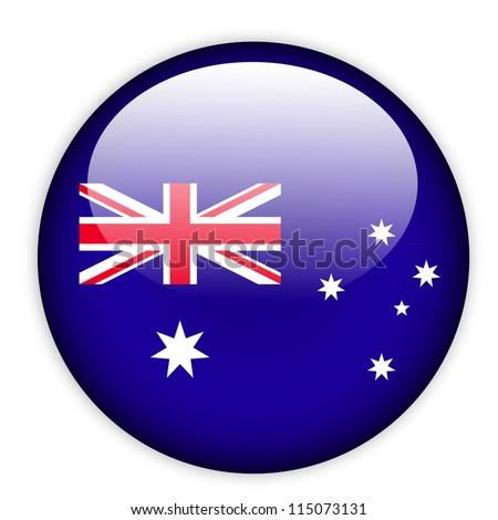 Australia flag button on white - stock vector