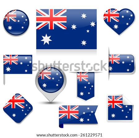 Australia Flag Collection - stock vector