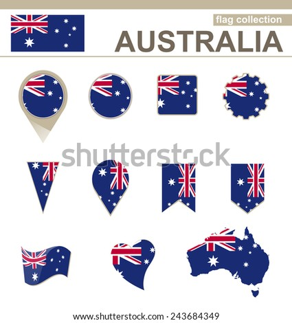 Australia Flag Collection, 12 versions - stock vector