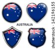 Australia flag icons, vector buttons.  - stock photo