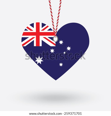 Australia flag in the shape of a heart with hang tags - stock vector
