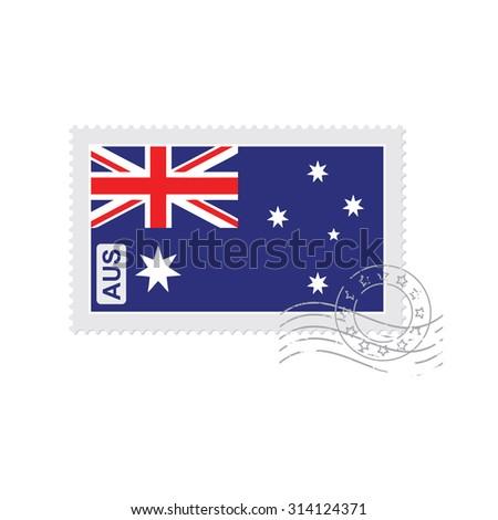 australia flag old postage stamp isolated on white vector illustration - stock vector