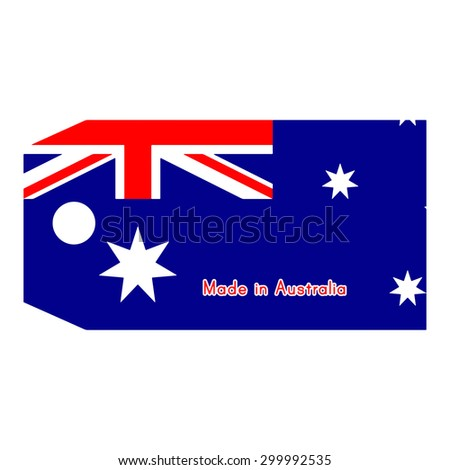 Australia flag on price tag with word Made in Australia isolated on white background - stock vector
