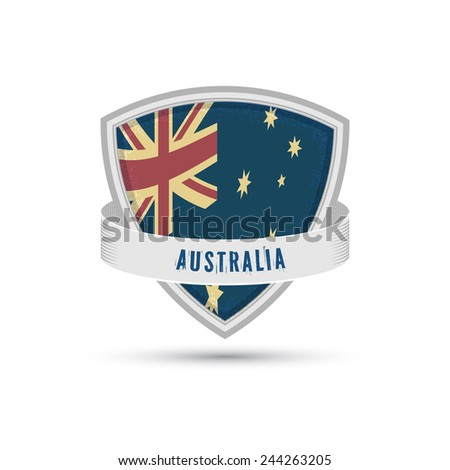 Australia flag on the shield icon, Isolated on white background - stock vector
