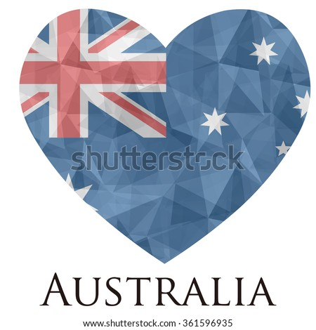 Australia flag shape heart in geometric rumpled triangular low poly origami style graphic illustration,mosaic polygonal style.Symbol of love to country.Retro or vintage style background. - stock vector