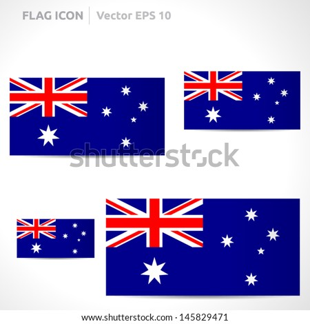 Australia flag template | vector symbol design | color red blue and white | icon set - stock vector