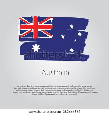 Australia Flag with colored hand drawn lines in Vector Format - stock vector