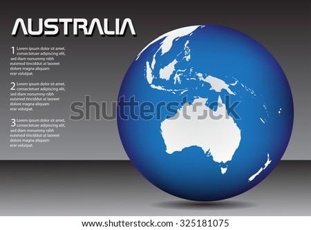 Australia globe. Earth globe. Vector illustration. - stock vector