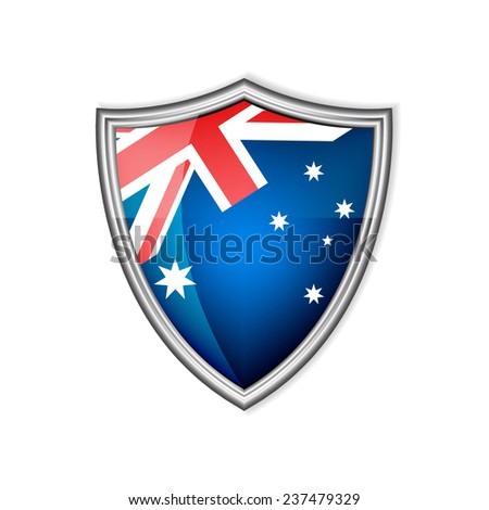 Australia glossy label or badge on a white background/vector illustration - stock vector