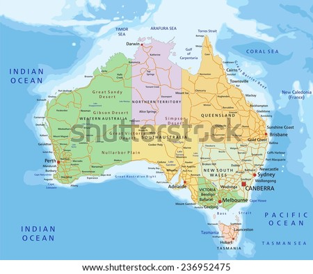 Australia - Highly detailed editable political map with separated layers. - stock vector