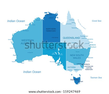 Australia - highly detailed map.All elements are separated in editable layers clearly labeled. Vector  - stock vector