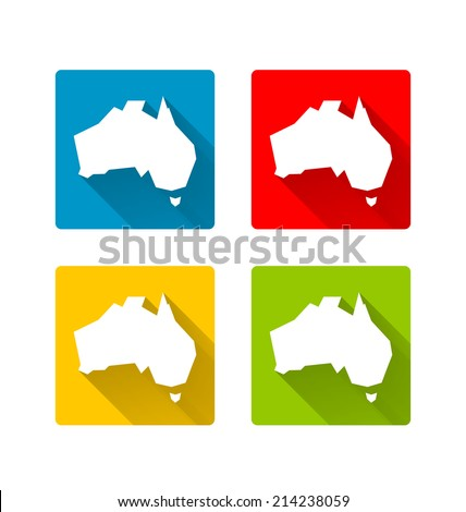 Australia icons in long shadow style on white background - stock vector