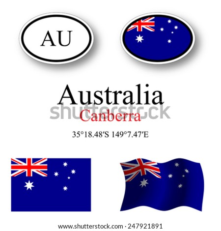 australia icons set against white background, abstract vector art illustration, image contains transparency - stock vector