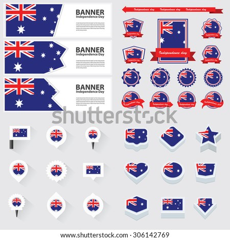 australia independence day, infographic, and label Set. - stock vector