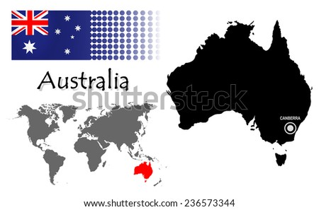 Australia Info Graphic Flag Location World Stock Vector 236573344