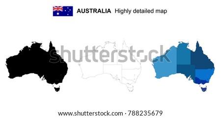 Australia Black Color Blank Map Isolated Stock Vector - Australia political map blank