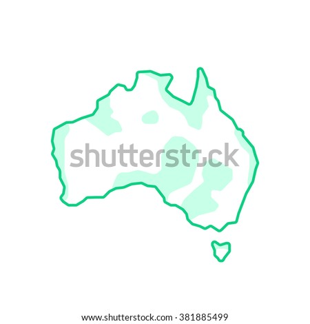 Australia like green continent. concept of happy Australia day, homeland, vacation destination, trip, journey, mainland. flat style trend modern logo design vector illustration on white background - stock vector