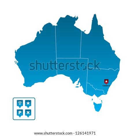 Australia Map - stock vector