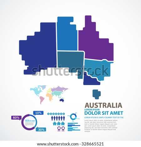 Australia Map  - stock vector