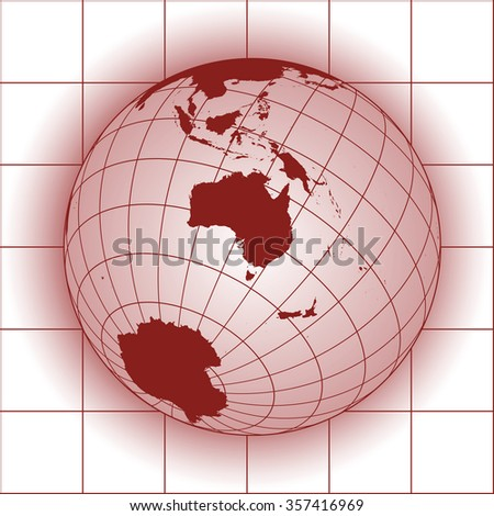 Australia map. Asia, Antarctica, North pole. Earth globe. World map. Elements of this image furnished by NASA - stock vector