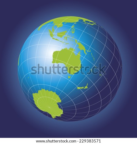 Australia map. Asia, Russia, Antarctica, Australasia North pole. Earth globe. Elements of this image furnished by NASA. Planet earth as seen from space - stock vector