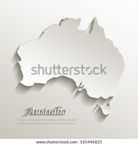Australia map card paper 3D natural vector - stock vector