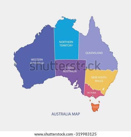 AUSTRALIA MAP COLOR WITH REGIONS flat design illustration vector - stock vector