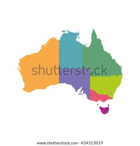 Australia map color with regions. Vector flat - stock vector