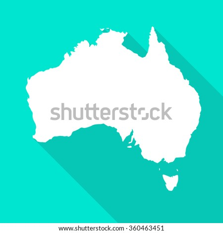 australia map flat simple style with long shadow