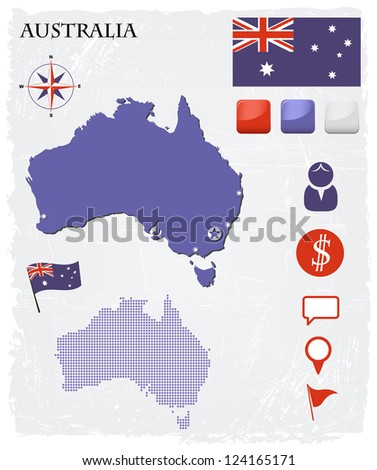 Australia map icons and buttons set - stock vector