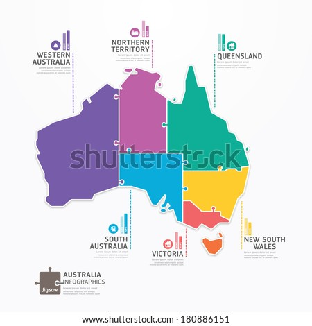 Australia Map Infographic Template jigsaw concept banner. vector illustration - stock vector