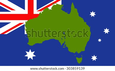Australia map on a flag background - stock vector