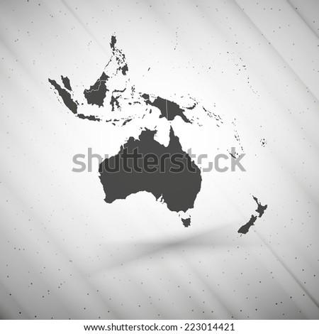 Australia map on gray background, grunge texture vector illustration. - stock vector