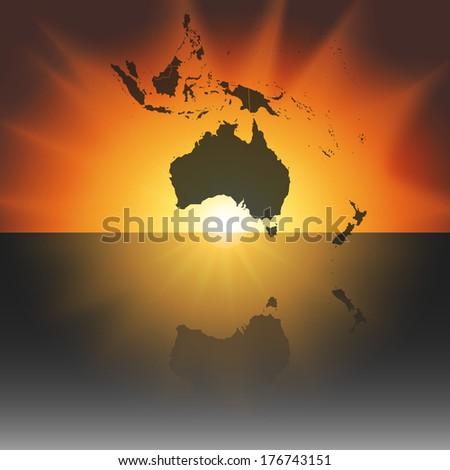 Australia map on the sunset background vector - stock vector