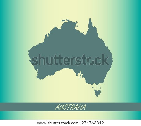 Australia map outlines on an abstract background for designing brochure template, advertising design for tourist map, and web-page template or construction - stock vector