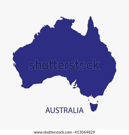 AUSTRALIA MAP silhouette illustration vector - stock vector