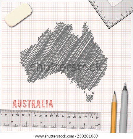 Australia map sketch effect on graph paper background in vector format - stock vector
