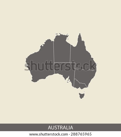 Australia map vector, Australia map outlines in a contrasted grey background for brochure and web-page templates and science & publication uses - stock vector