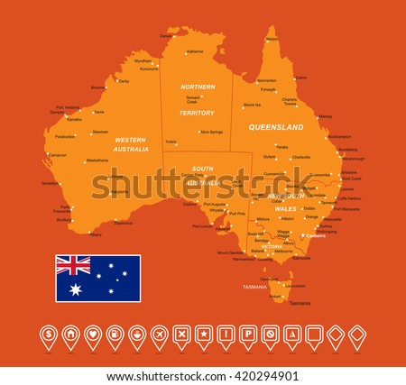 Australia Map vector illustration - stock vector