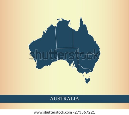 Australia map with boundaries/polygons of districts or provinces or states, on an abstract background - stock vector