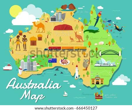 australia map colorful landmarks illustration design stock vector 666450127 shutterstock